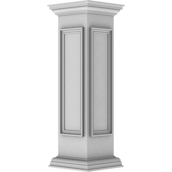 "10""W x 40""H Corner Newel Post with Panel, Peaked Capital & Base Trim (Installation kit included)"