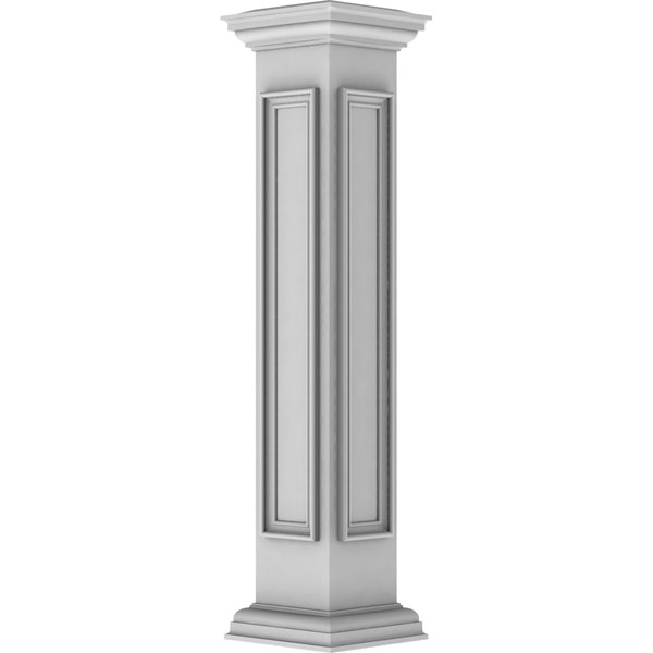 "8""W x 48""H End Newel Post with Panel, Flat Capital & Base Trim (Installation kit included)"