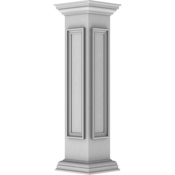 "8""W x 40""H End Newel Post with Panel, Peaked Capital & Base Trim (Installation kit included)"