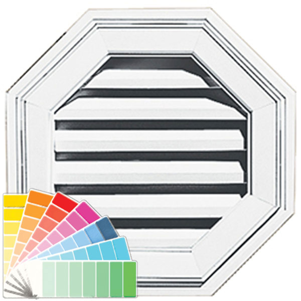 "18""W x 18""H Octagon Gable Vent Louver, 26 Sq. Inch Vent Area"