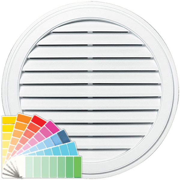 "36""W x 36""H Round Gable Vent Louver, 140 Sq. Inch Vent Area"