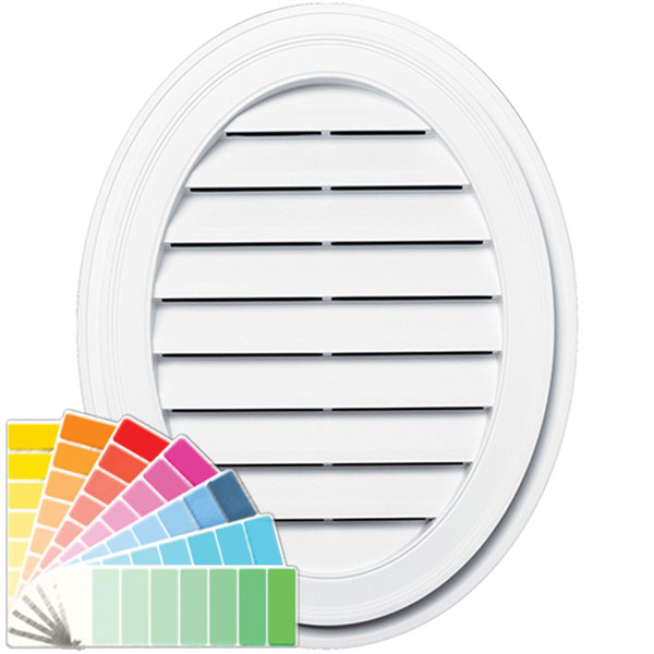 "21""W x 27""H Oval Gable Vent Louver, 57 Sq. Inch Vent Area"