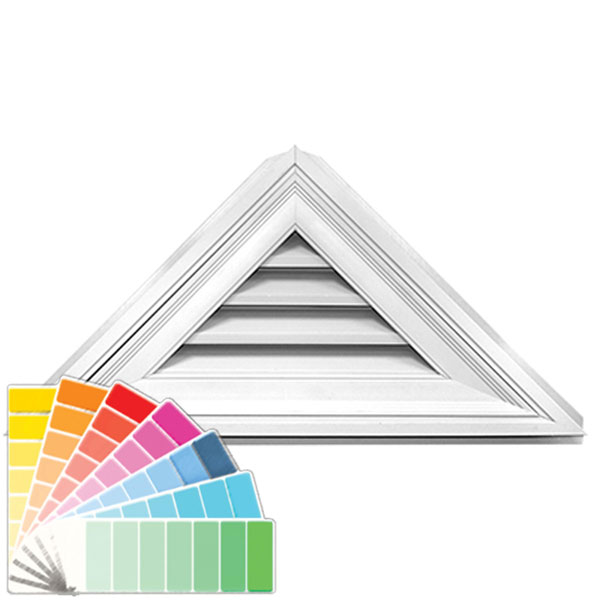 "17""H x 34""W Triangle Gable Vent Louver, 12/12 Pitch, 19 Sq. Inch Vent Area"