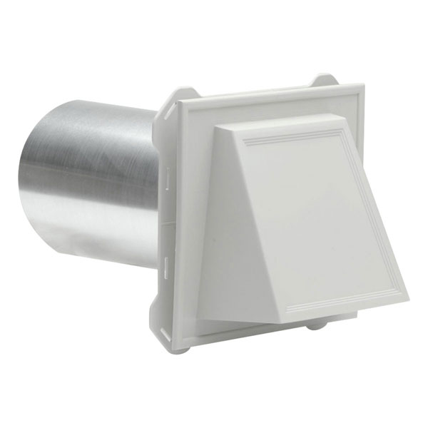 "7 1/2""W x 6 3/4""H Hooded Vent with 4"" Diameter x 8"" Length Aluminum Tube, (4/pack)"