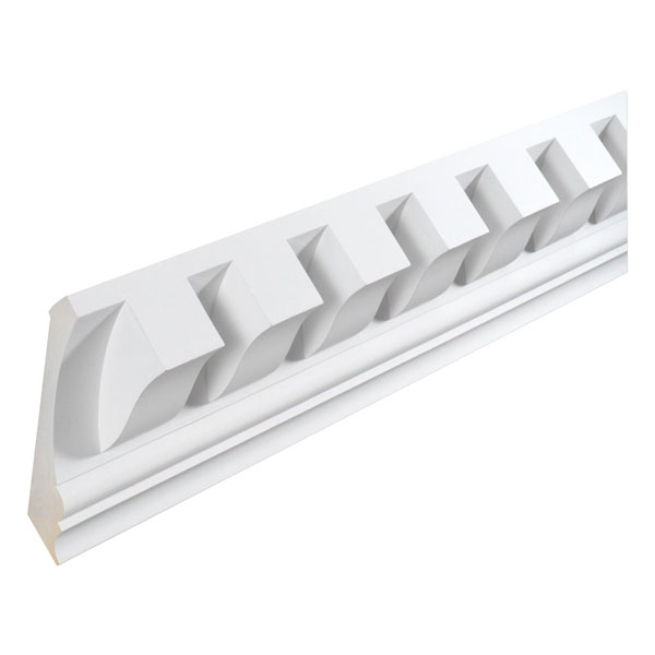 "7 1/4""H x 4""T/12""S x 6 11/16""P, 12' Length, Crown Dentil Moulding"