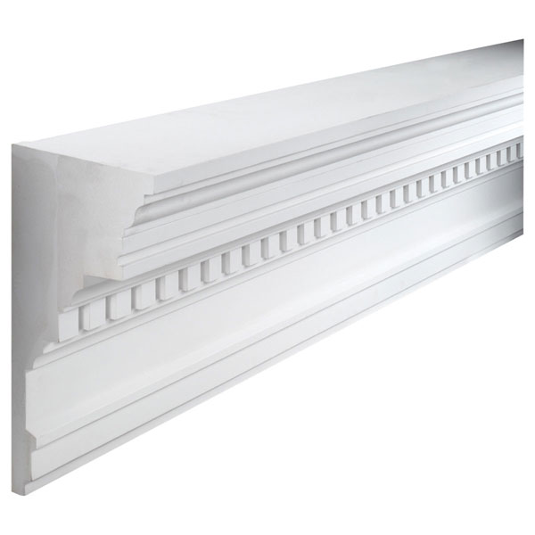 "19""W x 9 1/2""P, 8' Length, Crown Dentil Moulding"