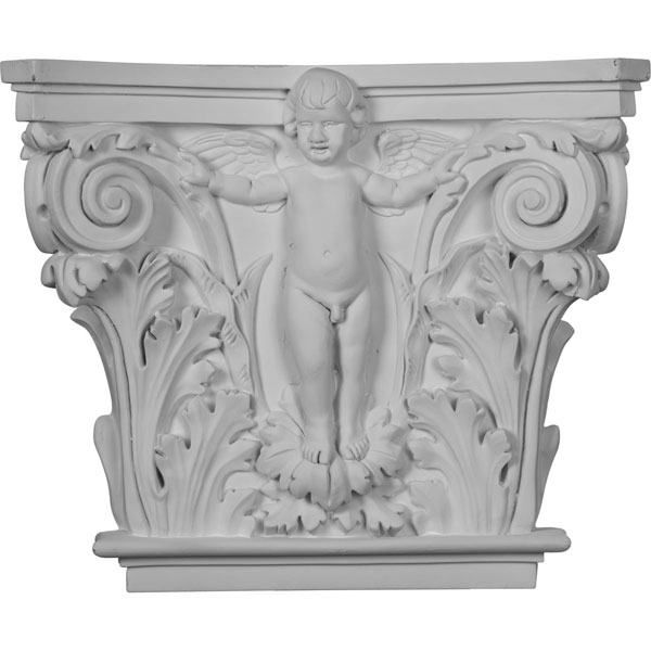 "16 3/8""W x 13 5/8""H x 3 7/8""P Angel Onlay Capital (Fits Pilasters up to 10 5/8""W x 1""D)"