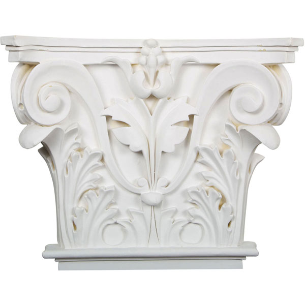 "16 1/2""W x 13 5/8""H x 3 3/4""P Acanthus Leaf Onlay Capital (Fits Pilasters up to 10 5/8""W x 7/8""D)"