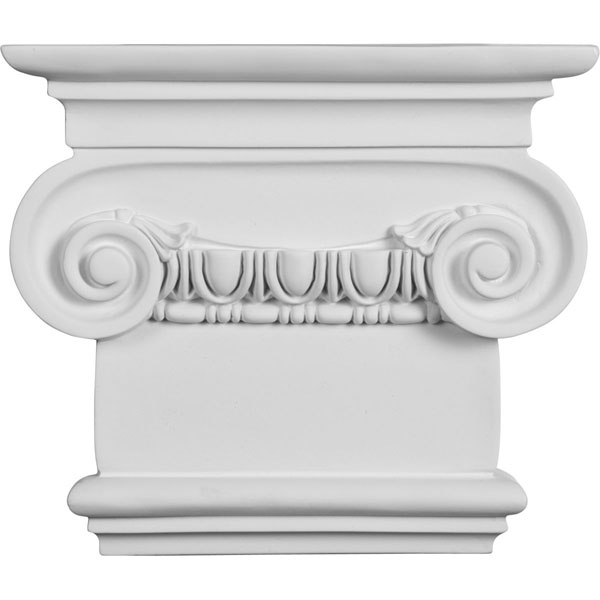 "10 3/8""W x 7 1/2""H x 2 5/8""P Classic Ionic Small Onlay Capital"