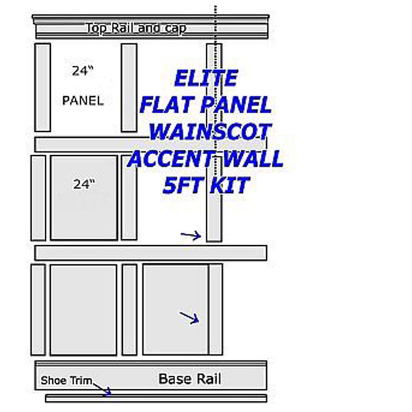 Flat Paneled Full Wall Kit 5ft in Paint Grade