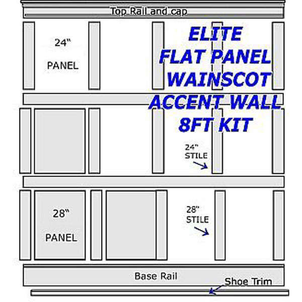 Flat Paneled Full Wall Kit 8ft in Paint Grade