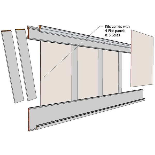 Elite FLAT Paneled Wainscot 8ft Kit with Panels in Paint Grade