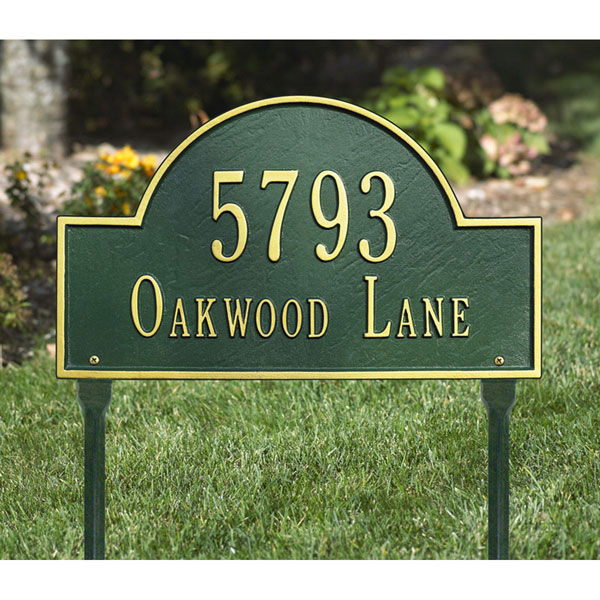 "15 3/4""W x 9 1/4""H Arch Marker Two Line Lawn Plaque"