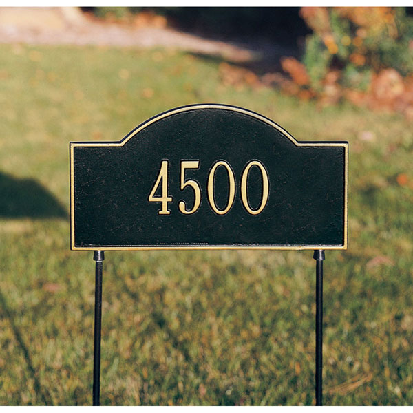 "15 3/4""W x 9 1/4""H Two-Sided Arch Marker One Line Lawn Plaque"