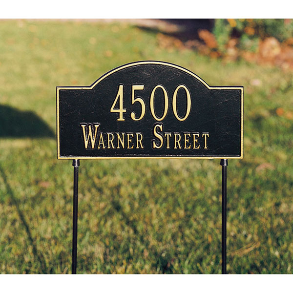 "15 3/4""W x 9 1/4""H Two-Sided Arch Marker Two Line Lawn Plaque"