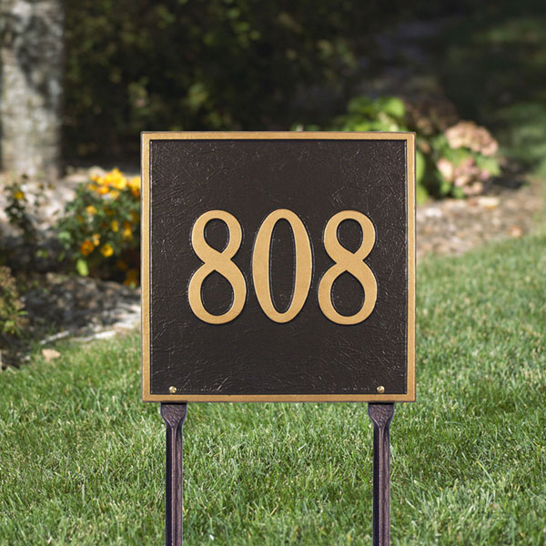 "11""W x 11""H Square One Line Lawn Plaque"