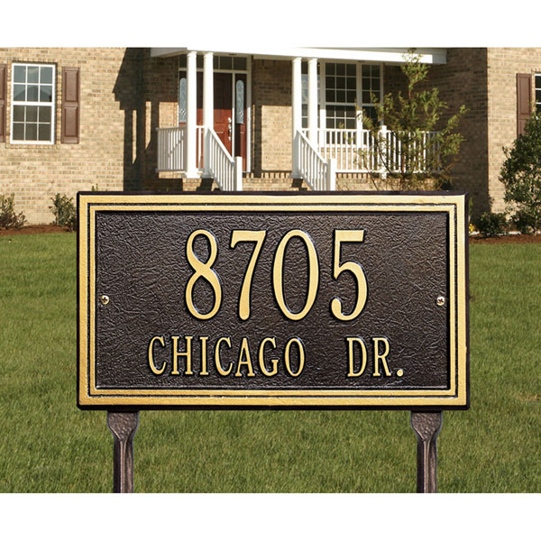 "13""W x 7 1/4""H Smooth Border Two Line Lawn Plaque"