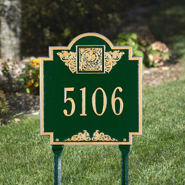 "10 3/4""W x 11 3/4""H Monogram One Line Lawn Plaque"