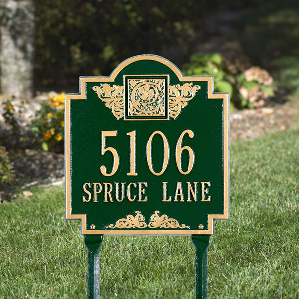 "10 3/4""W x 11 3/4""H Monogram Two Line Lawn Plaque"