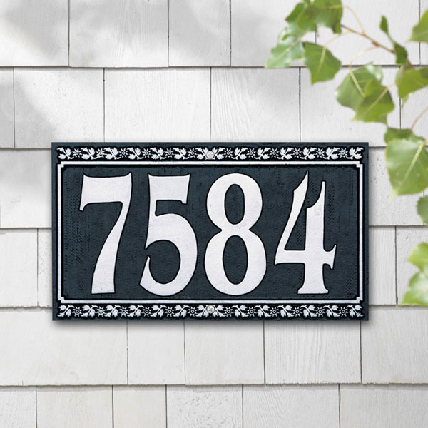 "11 3/4""W x 7 1/4""H Dresden Four Number Wall Plaque"
