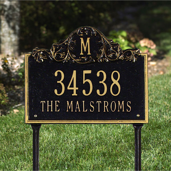 "14""W x 11 1/4""H Acanthus Monogram Two Line Lawn Plaque"