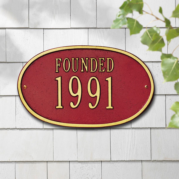 "12 1/2""W x 7 1/2""H ""Founded"" Date Wall Plaque"