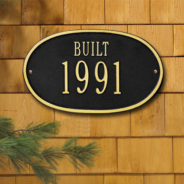 "12 1/2""W x 7 1/2""H ""Built"" Date Wall Plaque"