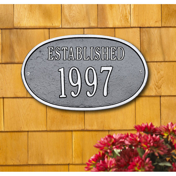 "12 1/2""W x 7 1/2""H ""Established"" Date Wall Plaque"