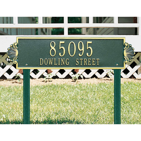 "25""W x 6""H Shell Horizontal Two Line Lawn Plaque"