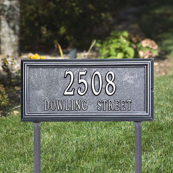 "17""W x 9 1/2""H x 1 1/4""D Springfield Rectangle Two Line Lawn Plaque"