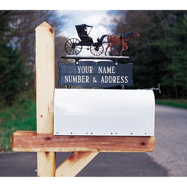 "5 1/4""W x 14 1/2""H Two-sided Two Line Mailbox Sign w/ Mailbox Mount"