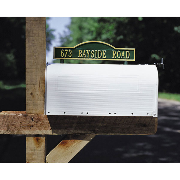 "14 3/8""W x 3 1/2""H Two-sided One Line Mailbox Address Arch Marker"