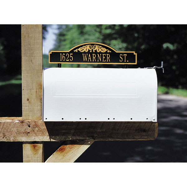 "14 3/8""W x 3 1/2""H Two-sided One Line Mailbox Address Scroll Marker"