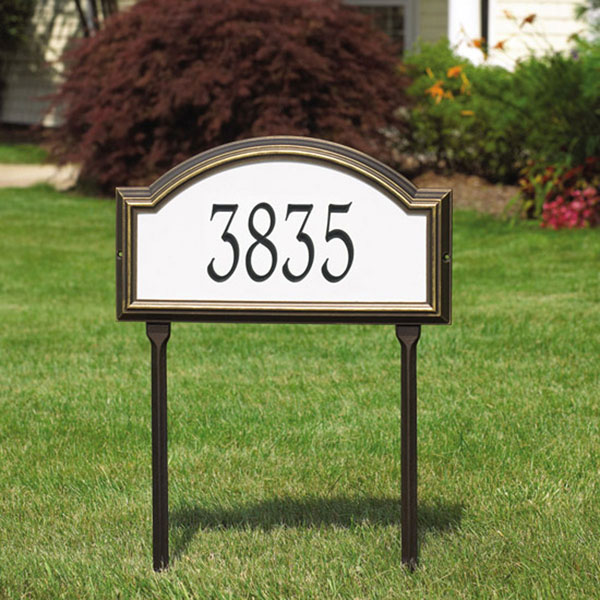 "22 1/2""W x 12""H x 1 1/4""D Providence Arch Reflective Lawn Plaque One Line"