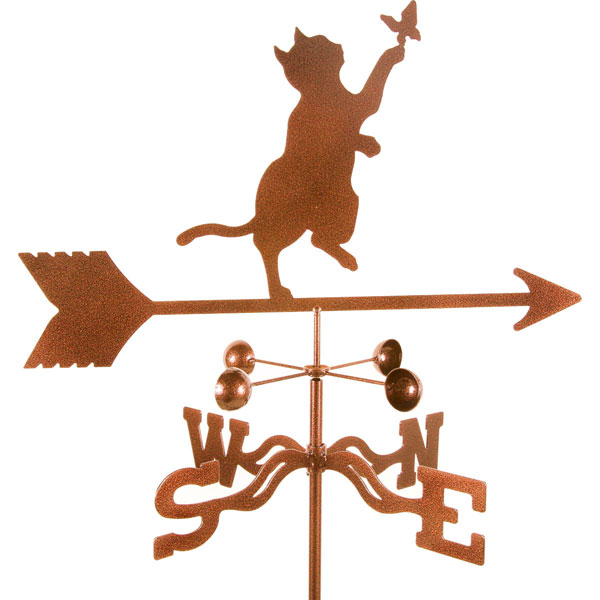 "21""L x 11""H Vintage Series Cat & Butterfly Weathervane"