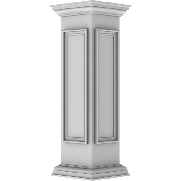 "10""W x 40""H End Newel Post with Panel, Flat Capital, & Base Trim (Installation kit included)"