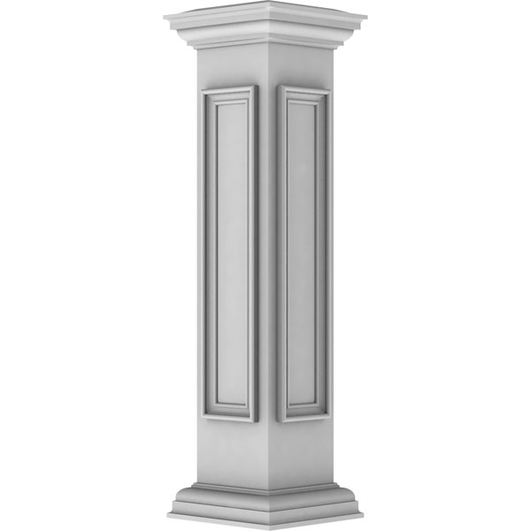 "8""W x 40""H Corner Newel Post with Panel, Flat Capital, & Base Trim (Installation kit included)"