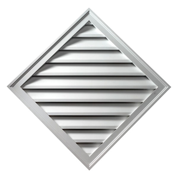 "33 15/16""W x 33 15/16""H x 1 5/8""P Diamond Gable Vent Louver, Non-Functional"