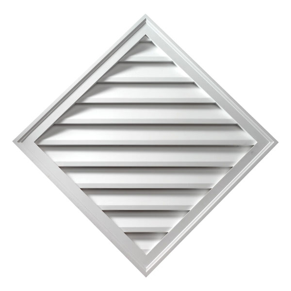 "33 15/16""W x 33 15/16""H Brick Mould Style Diamond Louver, Functional"