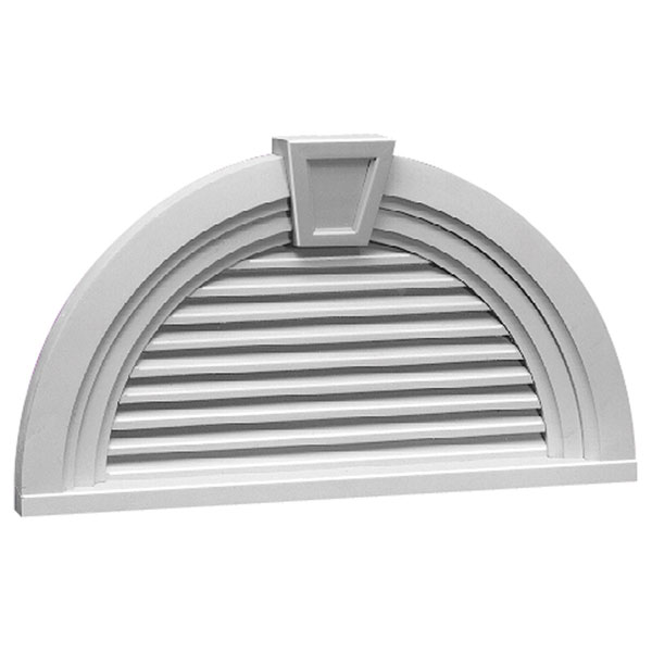 "36""W x 18""H Half Round Louver with Decorative Trim and Keystone, Functional"