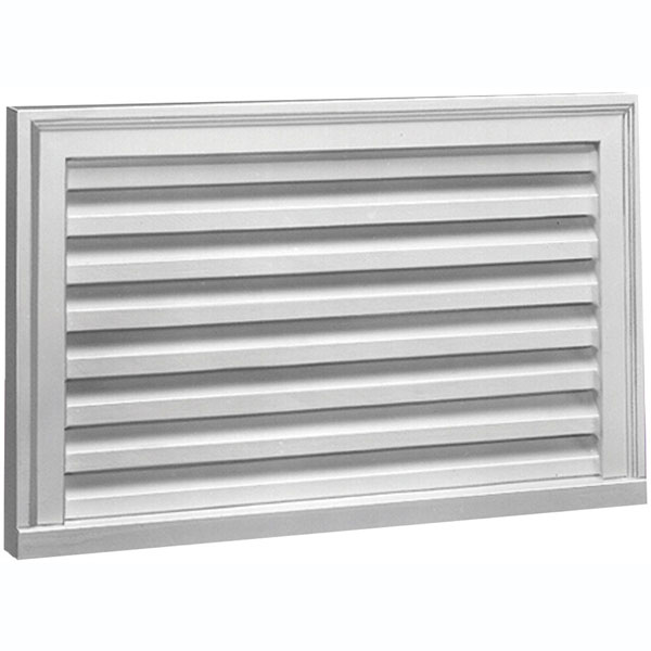 "32""W x 16""H x 2""P Brick Mould Style Horizontal Louver, Functional"