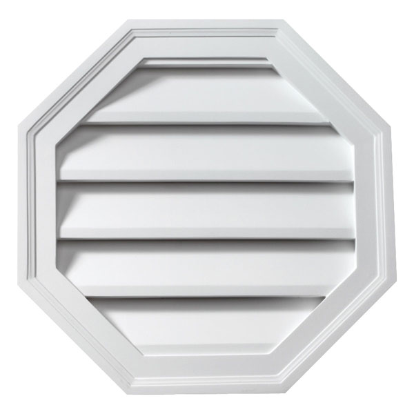 """28""""W x 28""""H x 1 5/8""""P Brick Mould Style Octagon Louver, Functional"""