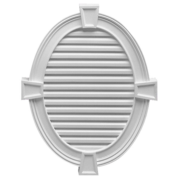 "30""W x 37 1/2""H x 3""P Vertical Oval Louver w/ Decorative Trim and Keystones, Functional"