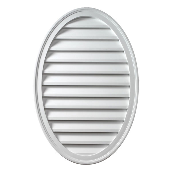 "18""W x 24""H x 1 5/8""P Brick Mould Style Vertical Oval Louver, Functional"