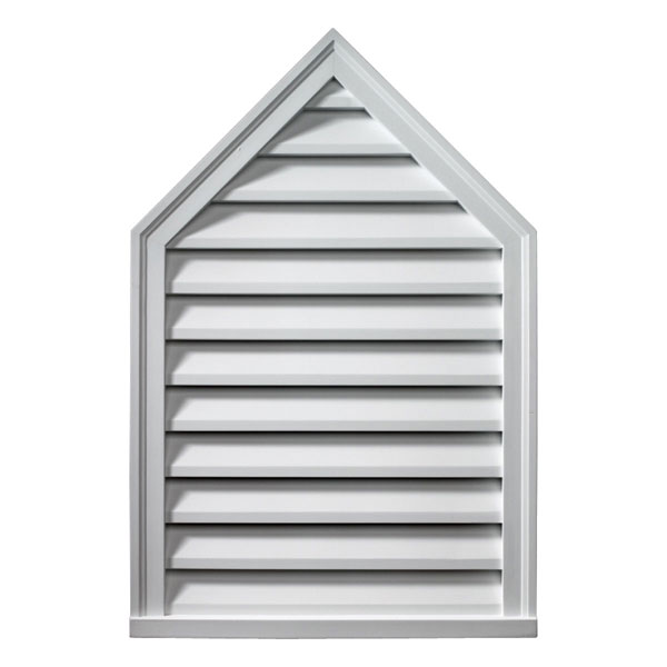 "24""W x 36""H x 2""P, Pitch 12/12 Brick Mould Style Peaked Louver, Functional"