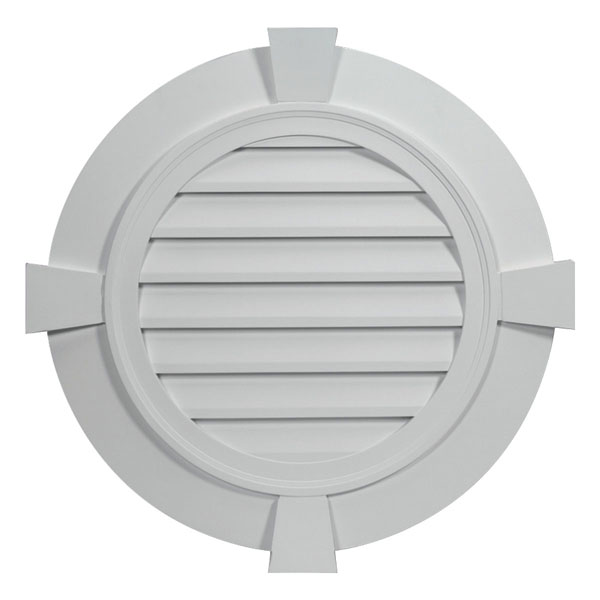 "32 27/32""W x 32 27/32""H Round Louver, with 3 1/2"" Flat Trim and Keystones, Functional"