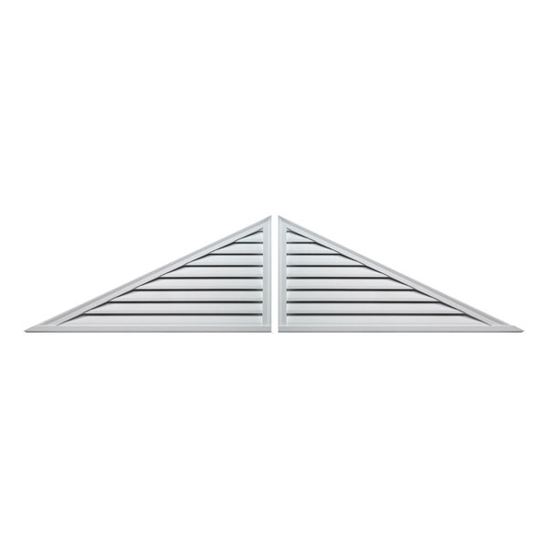 "108""W x 27""H x 2""P, Pitch 6/12 Brick Mould Style Two-Piece Triangle Louver, Functional"