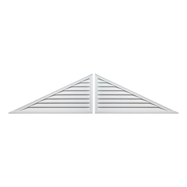 "115""W x 34 1/2""H x 2""P, Pitch 7.25/12 Brick Mould Style Two-Piece Triangle Louver, Functional"