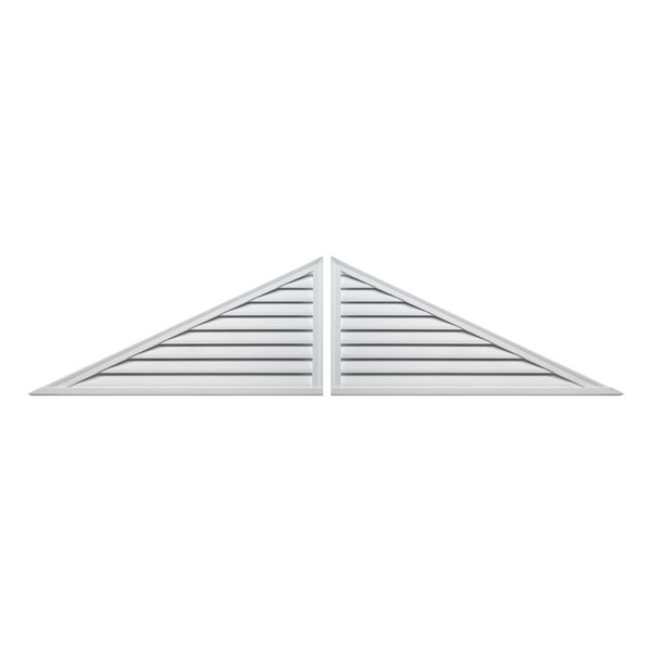 "120""W x 30""H x 2""P, Pitch 6/12 Brick Mould Style Two-Piece Triangle Louver, Functional"