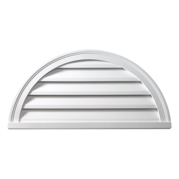 "28""W x 14""H Half Round Louver, Decorative"